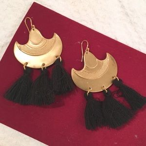 Jewelry - Black Tassel and Gold Tone Statement Earring